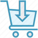 buy, cart, out arrow, product, shopping, shopping cart, trolley icon