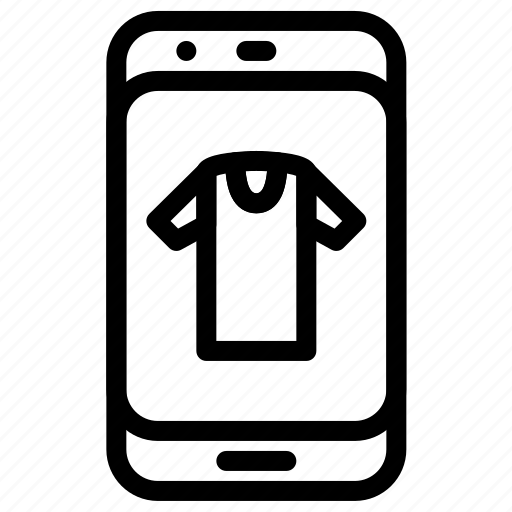 mobile, online, shirt, shopping icon