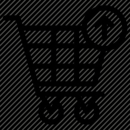 arrow, cart, shopping, up icon