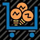 bulb, idea, light, shopping icon