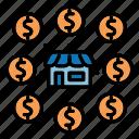 coin, money, shopping