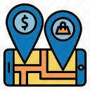 location, map, pin, shopping icon