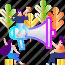 communication, illustration, loudspeaker, megaphone, message, speaker, speech