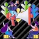 communication, illustration, loudspeaker, megaphone, message, speaker, speech icon