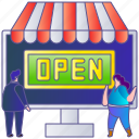 advertising, business, online, open, shop, store, web icon
