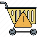 alert, buy, cart, shop, shopping, warning icon