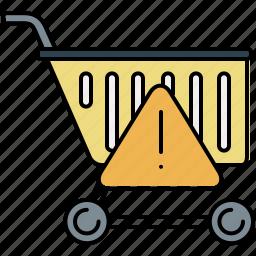 alert, buy, cart, shop, shopping, warning icon