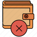 cancel, delete, payment, shopping, wallet icon