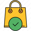 approve, bag, buy, complete, confirm, shop, shopping icon