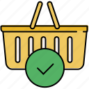 approve, basket, buy, complete, confirm, shopping icon