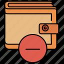 delete, finance, remove, shopping, wallet icon