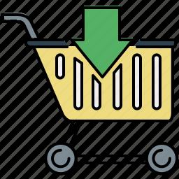 arrow, cart, down, enter, insert, shopping icon