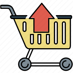 arrow, buy, cart, online, remove, shopping, up icon