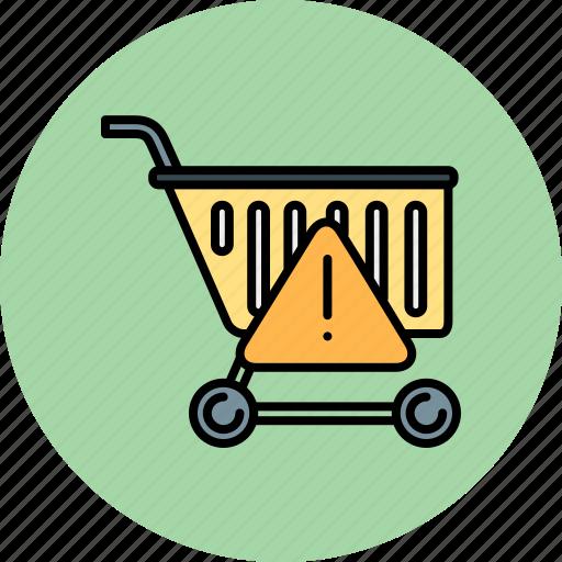 alert, cart, error, shop, shopping, warning icon