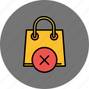 bag, buy, cancel, delete, shop, shopping icon