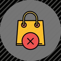 bag, buy, cancel, delete, shop, shopping icon