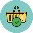 approve, basket, buy, complete, confirm, shop, shopping icon