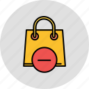 bag, buy, delete, remove, shop, shopping icon