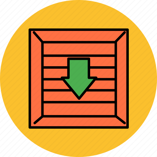 arrow, buy, crate, down, insert, shop, shopping icon
