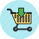 arrow, buy, cart, down, insert, shop, shopping icon