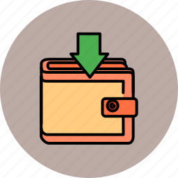 arrow, down, insert, payment, shopping, wallet icon