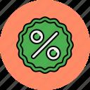 discount, percentage, sale, shop, shopping, sticker icon