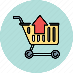 arrow, cart, extract, remove, shopping, up icon