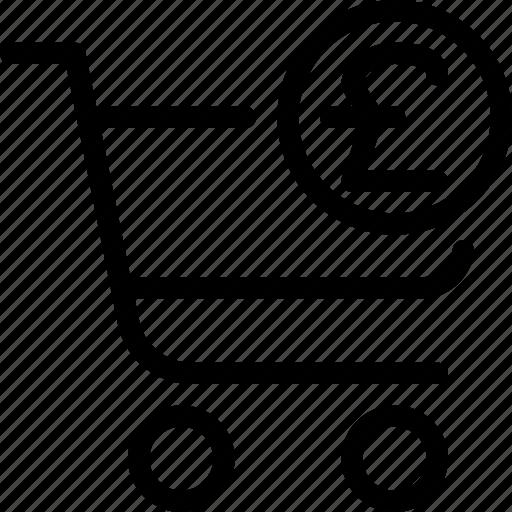 checkout, e-commerce, exit, line-icon, pound, pound-checkout, shopping icon