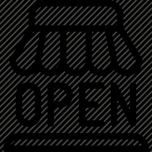 announcement, e-commerce, line-icon, open, shop, shop-open, shopping icon