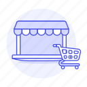 awning, cart, laptop, online, purchase, shopping, shops, store icon