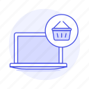 basket, baskets, circle, commerce, e, laptop, latop, online, shop, shopping, store