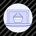 laptop, shopping, basket, online, baskets, shop, latop, e, store, commerce