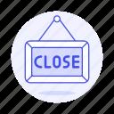 blackboard, board, close, shopping, shops, sign, store icon