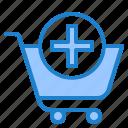 shopping, cart, add, online, trolley