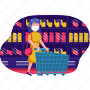 shopping, supermarket, shop, store, business, facemask, trolly