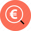 discount, euro, find, money, save, savings, search icon