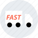 deliver, fast, on, shipping, truck, way icon
