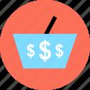 dollar, handcart, online, shop, signs, three icon