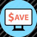 discount, mac, monitor, pc, save, screen icon