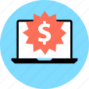 dollar, laptop, online, shop, sign, tag, web icon