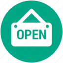 label, open, open shop, shopping icon