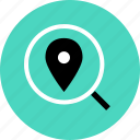 find, glass, gps, look, magnifying, pin, search icon