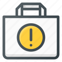 action, allert, attention, bag, buy, paper, shopping icon