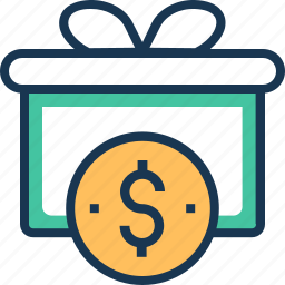 dollar, gift, present, present box, wrapped gift icon