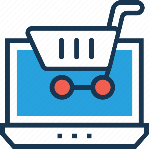 e commerce, laptop, online shop, online shopping, shopping cart icon