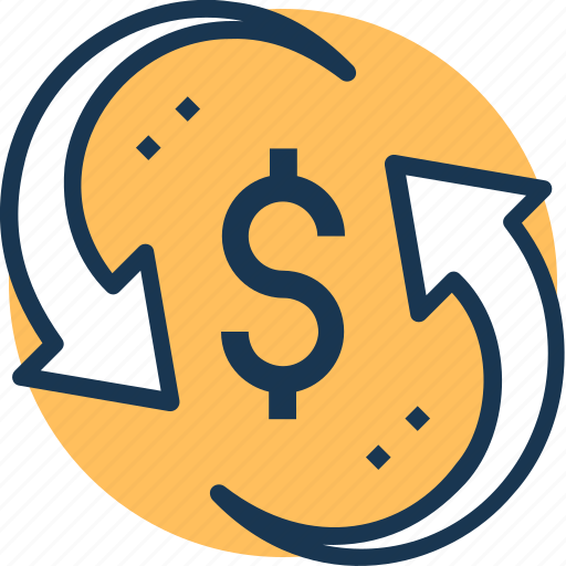 cash, currency, finance, money, sync icon