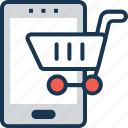 app, cart, m commerce, online shopping, shopping app icon