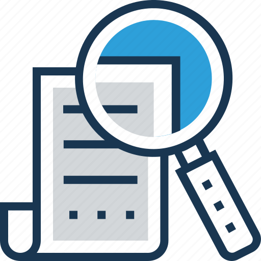 document, magnifier, page, search, search file icon