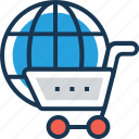 cart, globe, shopping, trolley, worldwide icon