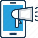 advert, announcement, marketing, mobile, smartphone icon